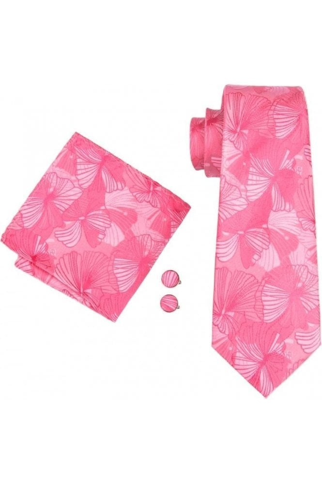 2ee242300861 Mens Pink Paisley 100% silk pocket square, cufflink and tie set