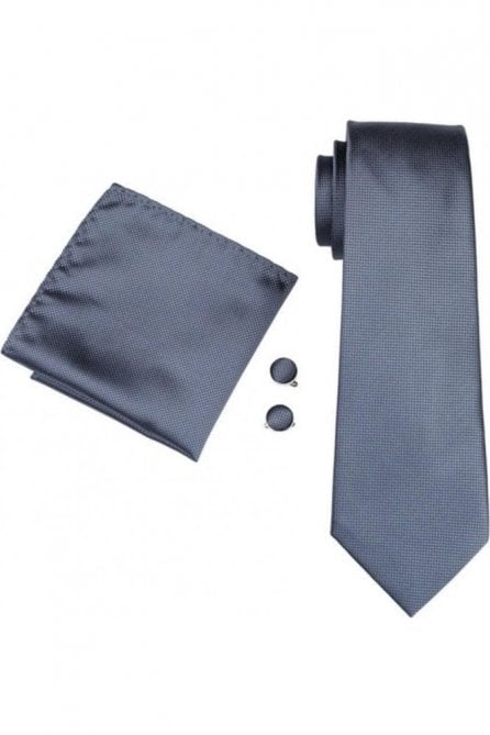 Mens Plain Grey 100% silk pocket square, Cufflink and tie set