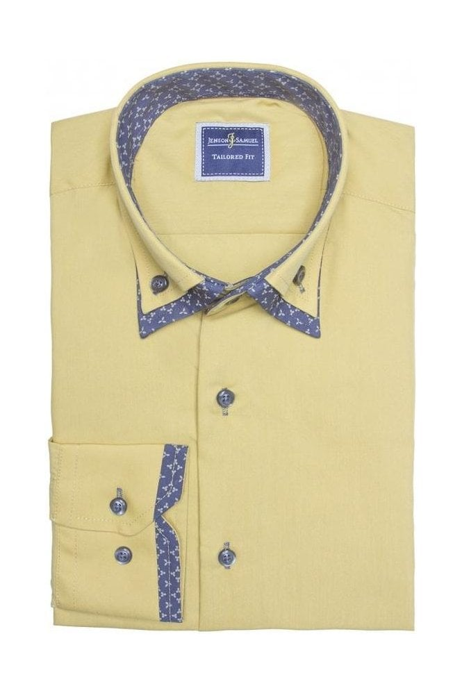JSS Mustard Italian style double collar button down shirt ...