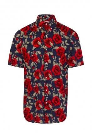 Navy Rose Print Regular Fit Short Sleeve Shirt