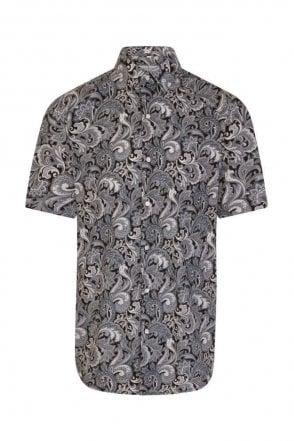Paisley Black Regular Fit Short Sleeve Shirt