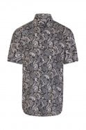 JSS Paisley Black Regular Fit Short Sleeve Shirt