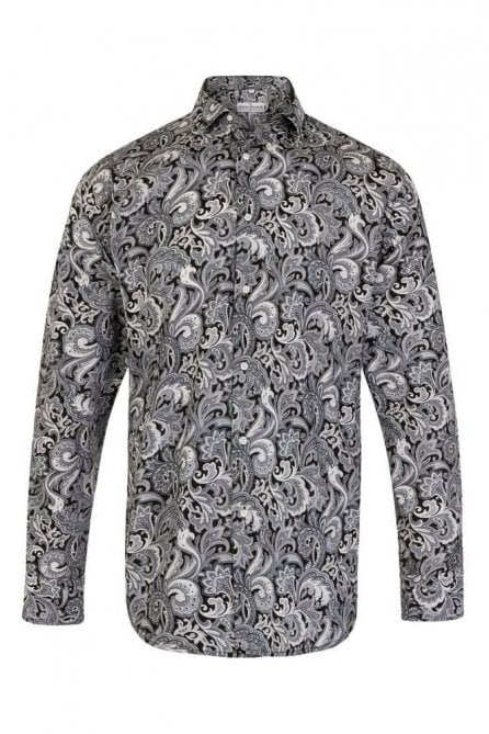 Paisley Black & White Regular Fit 100% Cotton Shirt