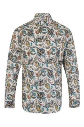 Paisley Blue & Cream Regular Fit 100% Cotton Shirt