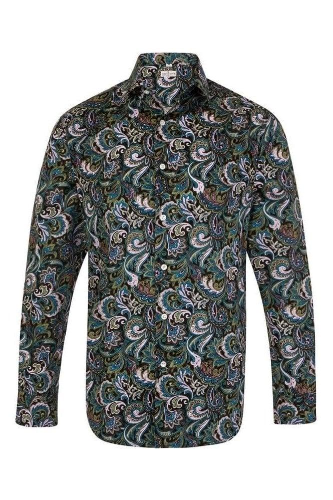 JSS Paisley Blue & Green Regular Fit 100% Cotton Shirt