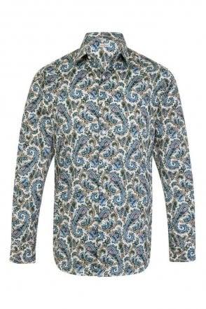Paisley Blue Regular Fit 100% Cotton Shirt