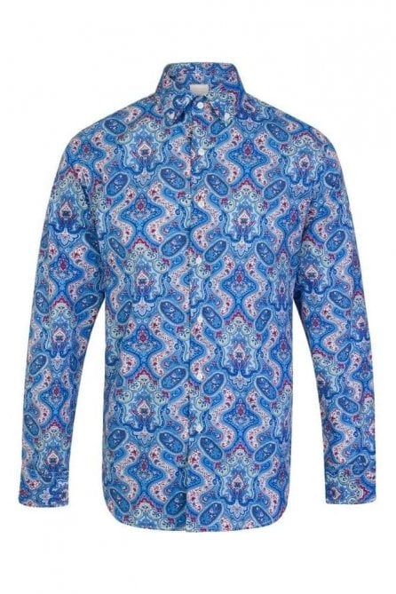 Paisley Blue Regular Fit 100% Cotton Shirt