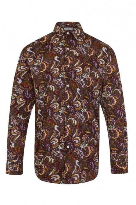 Paisley Brown Regular Fit 100% Cotton Shirt