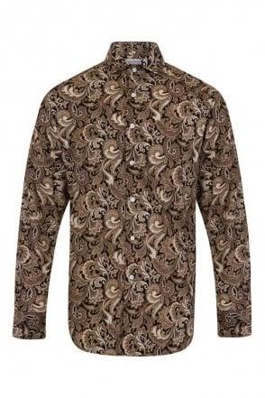 Paisley Brown Regular Fit 100% Cotton Shirt