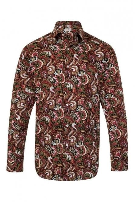 Paisley Green & Red Regular Fit 100% Cotton Shirt