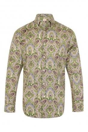 JSS Paisley Green Regular Fit 100% Cotton Shirt