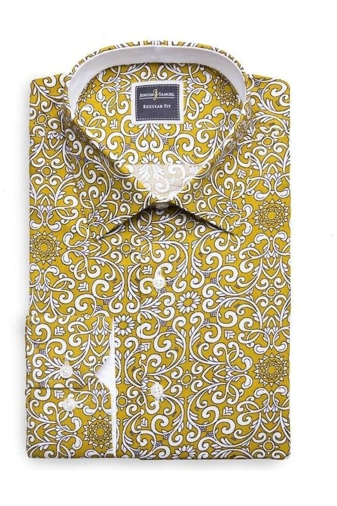 JSS Paisley Mustard Slim Fit Shirt Mod Inspired