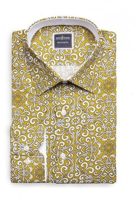 Paisley Mustard Slim Fit Shirt Mod Inspired