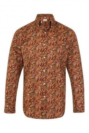 Paisley Orange Regular Fit 100% Cotton Shirt