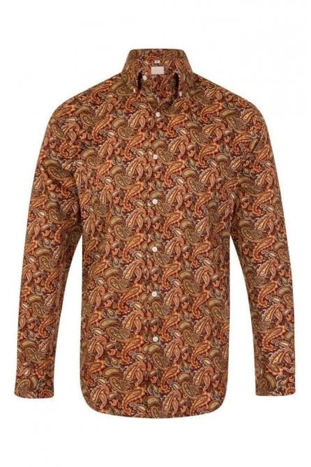 Paisley Orange Regular Fit 100% Cotton Shirt