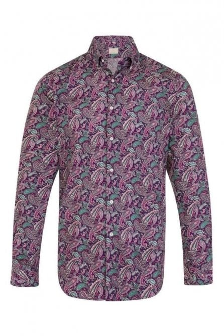 Paisley Purple Regular Fit 100% Cotton Shirt
