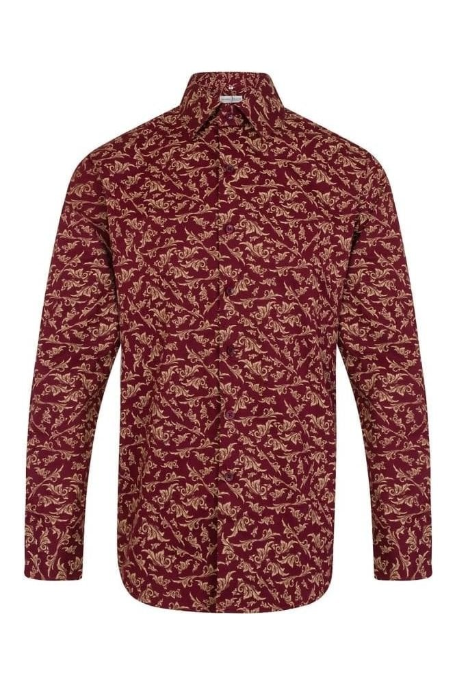 JSS Patterned Red Regular Fit 100% Cotton Shirt