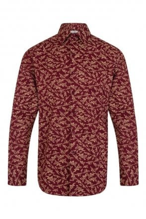 Patterned Red Regular Fit 100% Cotton Shirt