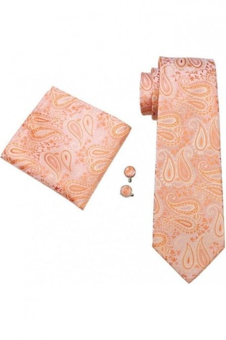 Peach paisley patterned wedding tie, pocket square and cufflink set