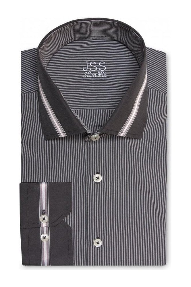 JSS Pin Striped Grey & Black Slim Fit Shirt with Black Striped Collar and Cuffs