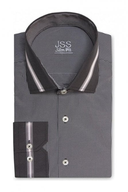 Pin Striped Grey & Black Slim Fit Shirt with Black Striped Collar and Cuffs