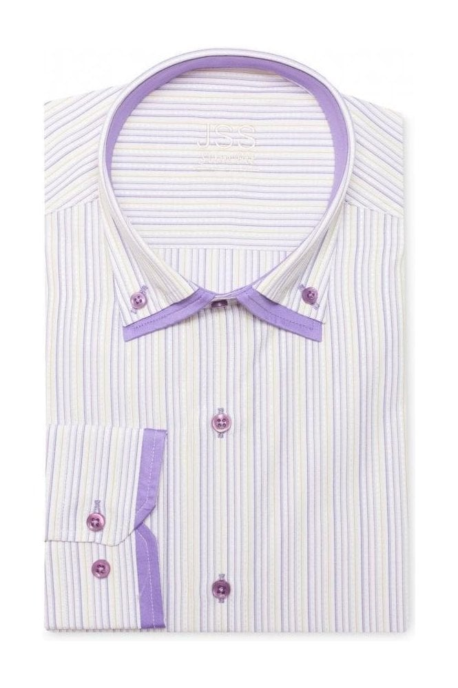 JSS Pin Striped Lilac & White Slim Fit Shirt Double Collared