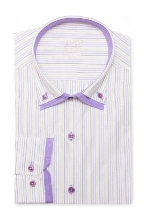 Pin Striped Lilac & White Slim Fit Shirt Double Collared