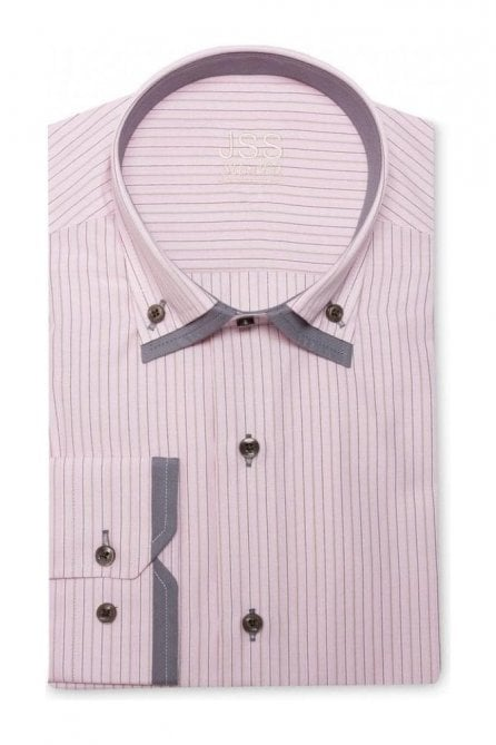 Pin Striped Pink Slim Fit Shirt Double Collared
