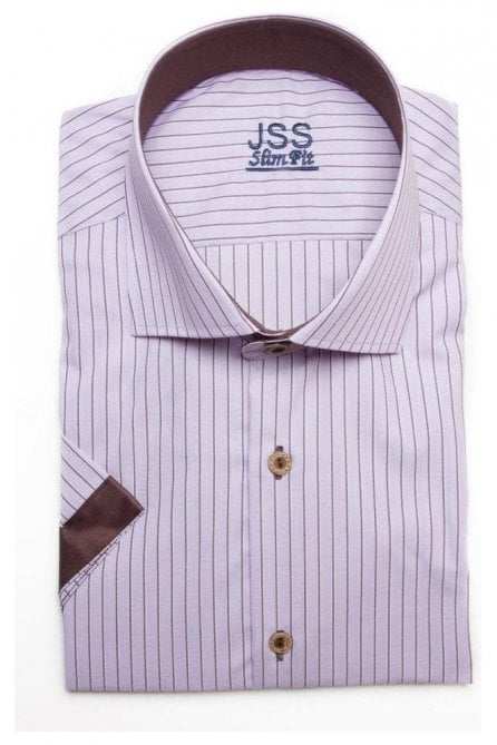 Pin Striped Pink Slim Fit Short Sleeve Shirt with Brown Plain Trim