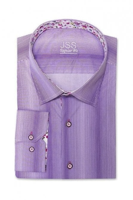 Pin Striped Purple Regular Fit Shirt with White Floral Trim