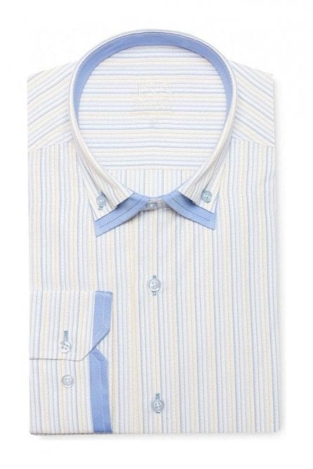 Pin Striped White, Blue & Yellow Slim Fit Shirt Double Collared