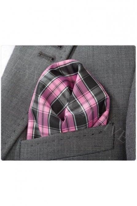 Pink and Black Check Silk Pocket Square