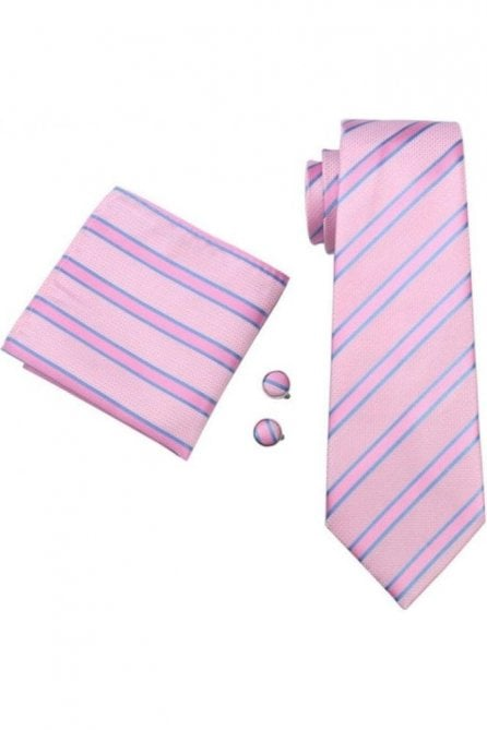 Pink & blue striped silk neck wedding tie, pocket square & cufflink set