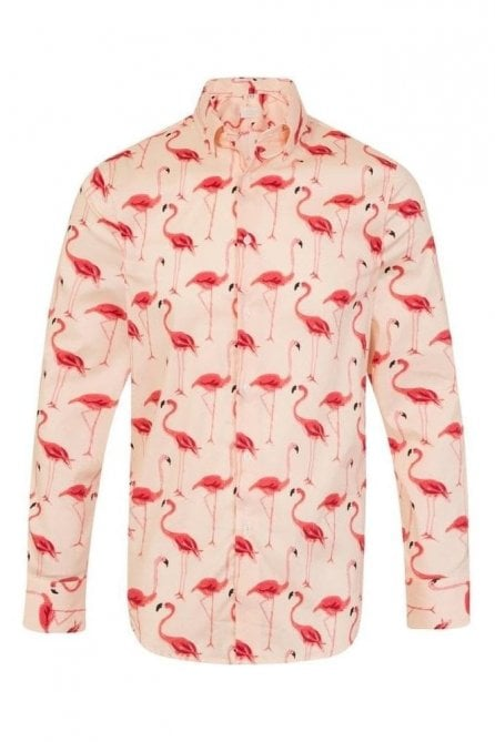 Pink Flamingo Print Regular Fit 100% Cotton Shirt