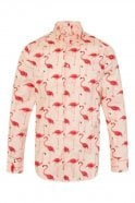 JSS Pink Flamingo Print Regular Fit 100% Cotton Shirt