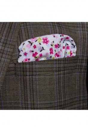 Pink & White Floral cotton pocket square