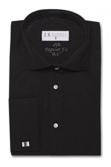 Plain Black Regular Fit Cotton Shirt with Cut Away Collar