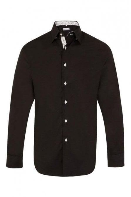 Plain Black Regular Fit Shirt with Black & White Paisley Trim