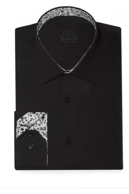 Plain Black Regular Fit Shirt with White & Black Floral Trim and Black Buttons