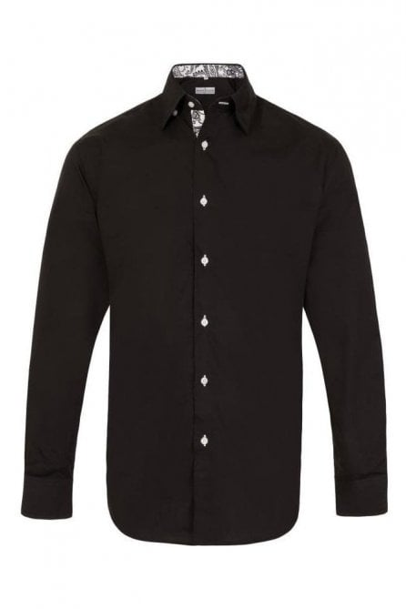 Plain Black Regular Fit Shirt with White Floral Trim