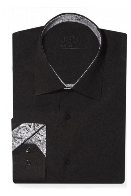 Plain Black Slim Fit Shirt with Black & White Paisley Trim