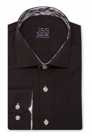 Plain Black Slim Fit Shirt with Black & White Paisley Trim