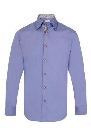 Plain Blue Regular Fit Shirt with Red & White Paisley Trim