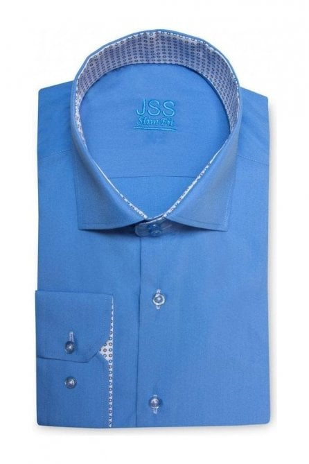 Plain Blue Slim Fit Shirt with Navy & White Disc Trim