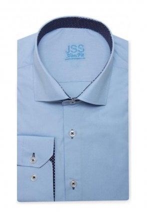Plain Blue Slim Fit Shirt with Navy & White Polka Dot Trim
