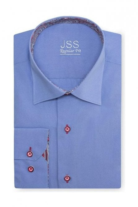 Plain Blue Slim Fit Shirt with Red Paisley Trim