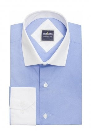 Plain Blue Slim Fit Shirt with White Collar and Cuffs