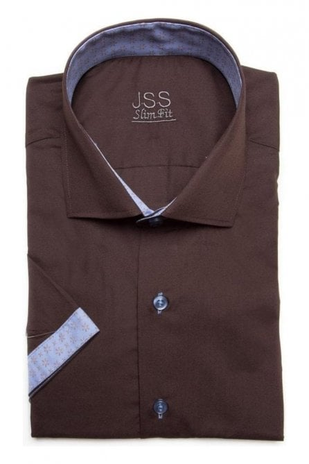 Plain Brown Slim Fit Shirt with Blue Aztec Trim