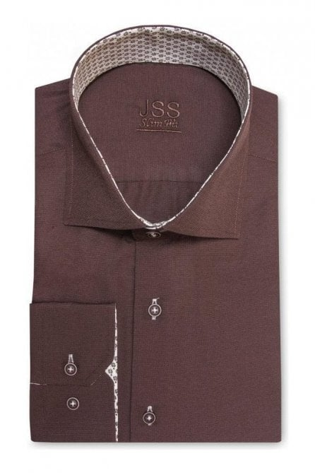 Plain Brown Slim Fit Shirt with Brown Floral Trim