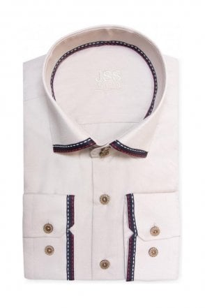 Plain Cream Slim Fit Shirt with Black Collar and Cuff Trim